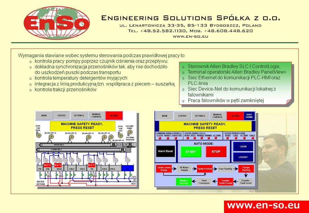 www.en-so.eu Wymagania stawiane wobec systemu sterowania podczas prawidłowej pracy to: kontrola pracy pompy poprzez czujnik ciśnienia oraz przepływu d