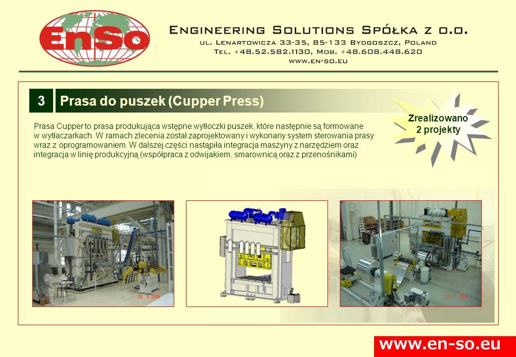 www.en-so.eu Prasa Cupper to prasa produkująca wstępne wytłoczki puszek, które następnie są formowane w wytłaczarkach. W ramach zlecenia został zaproj