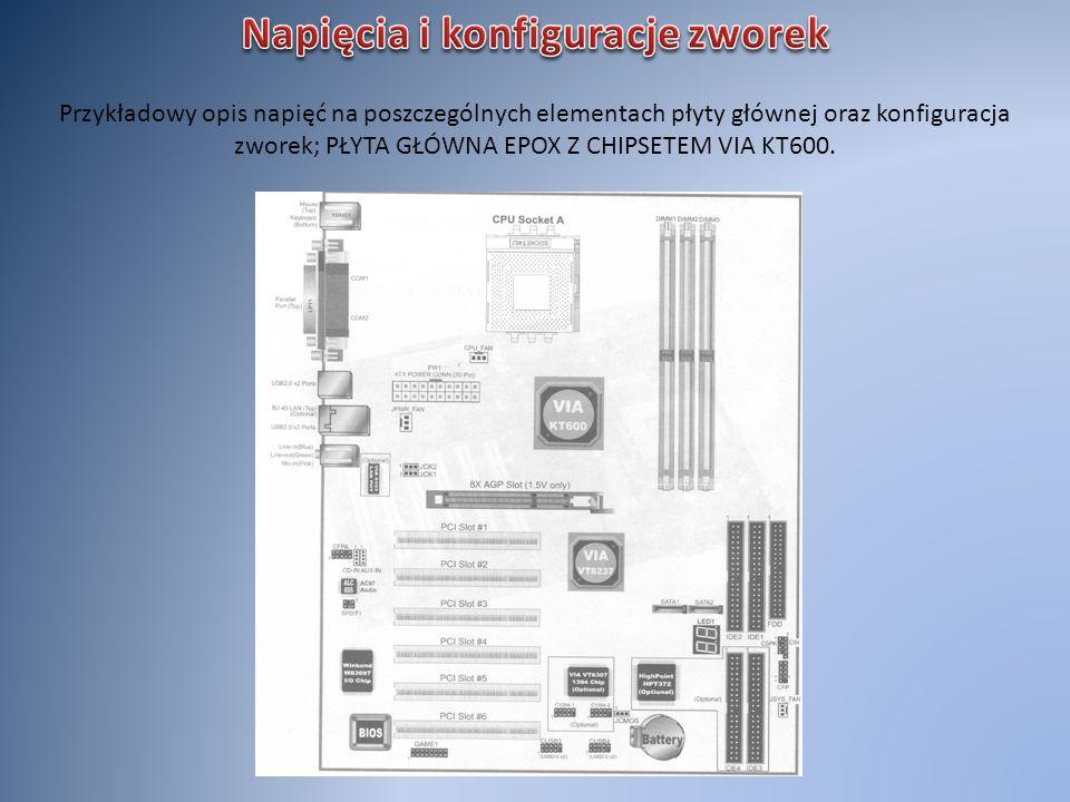 Przykładowy opis napięć na poszczególnych elementach płyty głównej oraz konfiguracja zworek; PŁYTA GŁÓWNA EPOX Z CHIPSETEM VIA KT600.