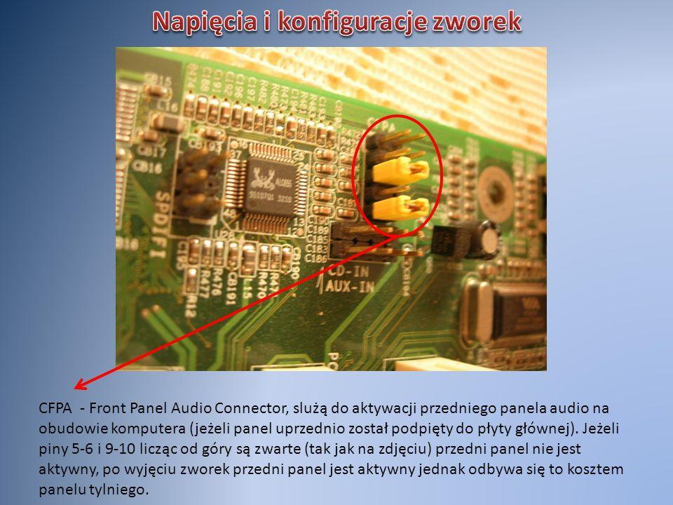 CFPA - Front Panel Audio Connector, slużą do aktywacji przedniego panela audio na obudowie komputera (jeżeli panel uprzednio został podpięty do płyty