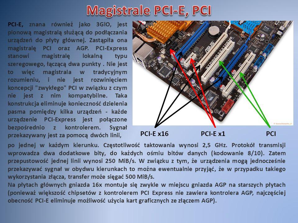 PCI-E x16PCI-E x1PCI PCI-E, znana również jako 3GlO, jest pionową magistralą służącą do podłączania urządzeń do płyty głównej. Zastąpiła ona magistral