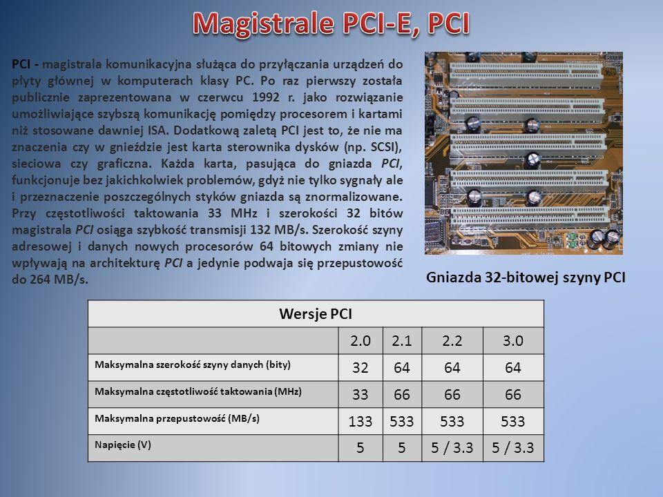 Gniazda 32-bitowej szyny PCI PCI - magistrala komunikacyjna służąca do przyłączania urządzeń do płyty głównej w komputerach klasy PC. Po raz pierwszy
