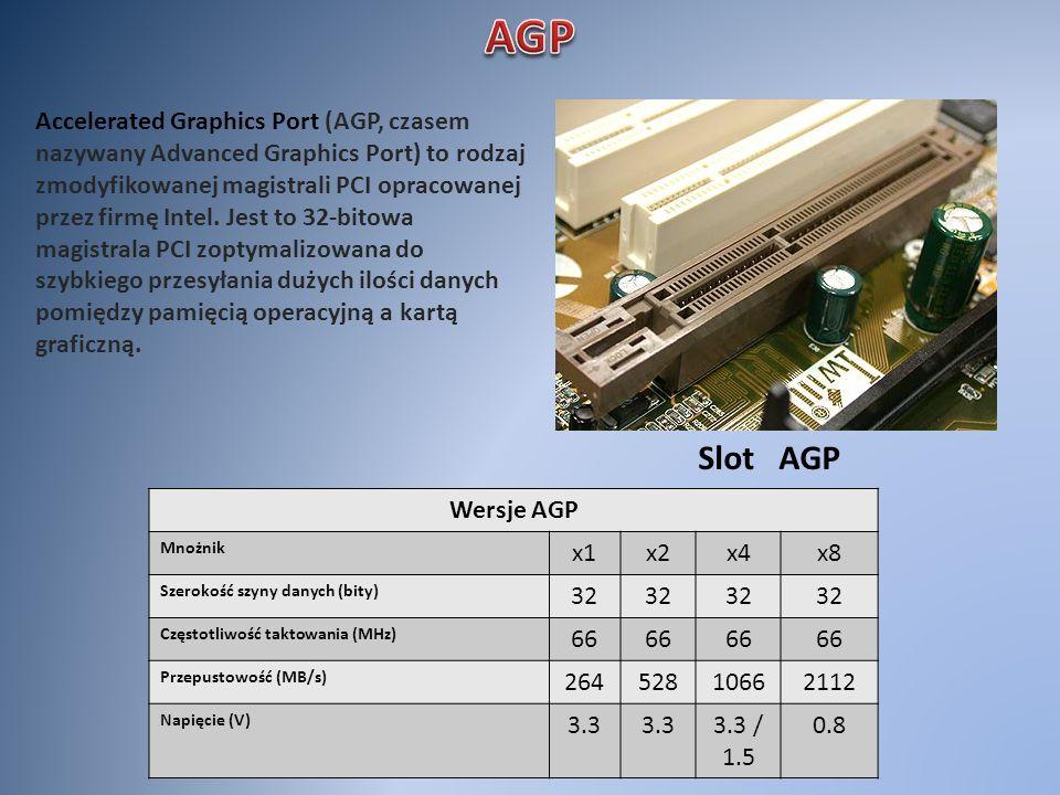 Slot AGP Accelerated Graphics Port (AGP, czasem nazywany Advanced Graphics Port) to rodzaj zmodyfikowanej magistrali PCI opracowanej przez firmę Intel
