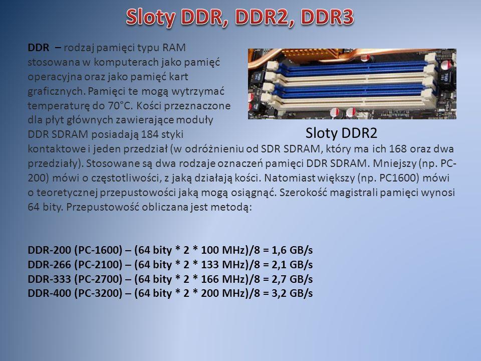 Sloty DDR2 DDR – rodzaj pamięci typu RAM stosowana w komputerach jako pamięć operacyjna oraz jako pamięć kart graficznych. Pamięci te mogą wytrzymać t
