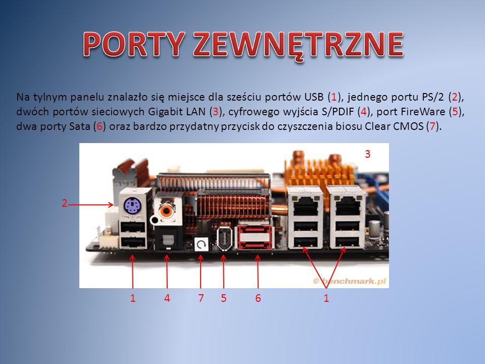 Na tylnym panelu znalazło się miejsce dla sześciu portów USB (1), jednego portu PS/2 (2), dwóch portów sieciowych Gigabit LAN (3), cyfrowego wyjścia S