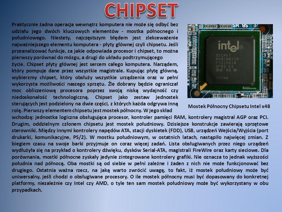 Blokowy schemat klasycznej architektury chipsetu - mostek północny SiS 671FX połączony z procesorem, kartą graficzną i pamięcią operacyjną, a także mostek południowy SiS 968 obsługujący napędy i urządzenia peryferyjne.
