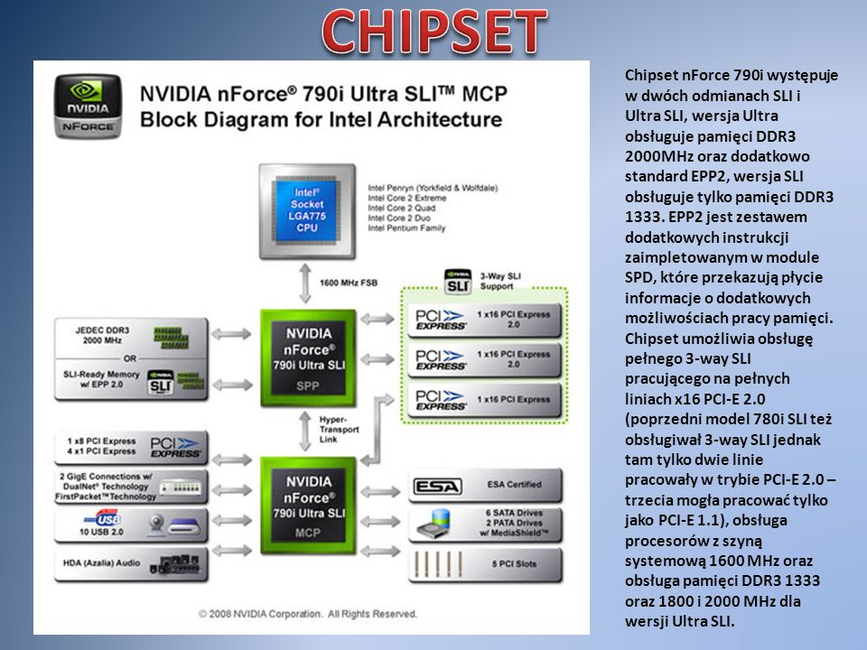Chipset nForce 790i występuje w dwóch odmianach SLI i Ultra SLI, wersja Ultra obsługuje pamięci DDR3 2000MHz oraz dodatkowo standard EPP2, wersja SLI