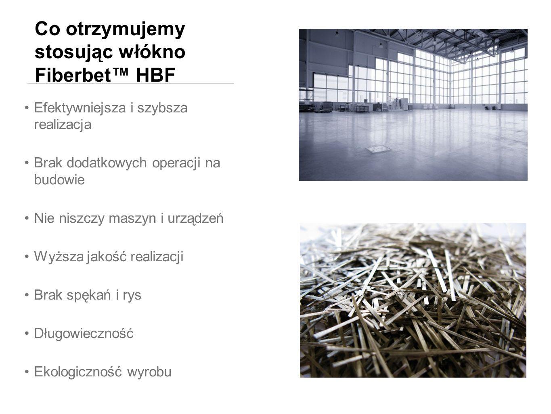 Co otrzymujemy stosując włókno Fiberbet HBF Efektywniejsza i szybsza realizacja Brak dodatkowych operacji na budowie Nie niszczy maszyn i urządzeń Wyż