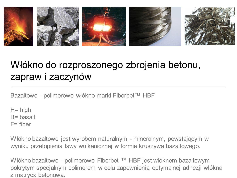 Korzyści ekonomiczne - zbrojenie przeciwskórczowe Fiberbet HBF 12mm - dozowanie 0,4kg włókna na 1m3 betonu, cena 5,0 EUR/kg netto = koszt zbrojenia 1m3 betonu na poziomie 2,0 EUR Włókno szklane R 12/11 - dozowanie 0,6kg włókna na 1m3 betonu, cena 7,0 EUR/kg netto = koszt zbrojenia 1m3 betonu na poziomie 4,20 EUR Włókno polipropylenowe Micro 12/11 - dozowanie 0,9kg włókna na 1m3 betonu, cena 4,0 EUR/kg netto = koszt zbrojenia 1m3 betonu na poziomie 3,60 EUR Włókno stalowe 21/1- dozowanie 15kg włókna na 1m3 betonu, cena 0,83 EUR/kg netto = koszt zbrojenia 1m3 betonu na poziomie 12,45 EUR
