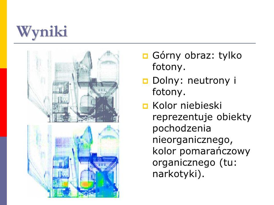 Wyniki Górny obraz: tylko fotony. Dolny: neutrony i fotony. Kolor niebieski reprezentuje obiekty pochodzenia nieorganicznego, kolor pomarańczowy organ