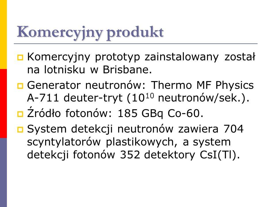 Komercyjny produkt Komercyjny prototyp zainstalowany został na lotnisku w Brisbane. Generator neutronów: Thermo MF Physics A-711 deuter-tryt (10 10 ne
