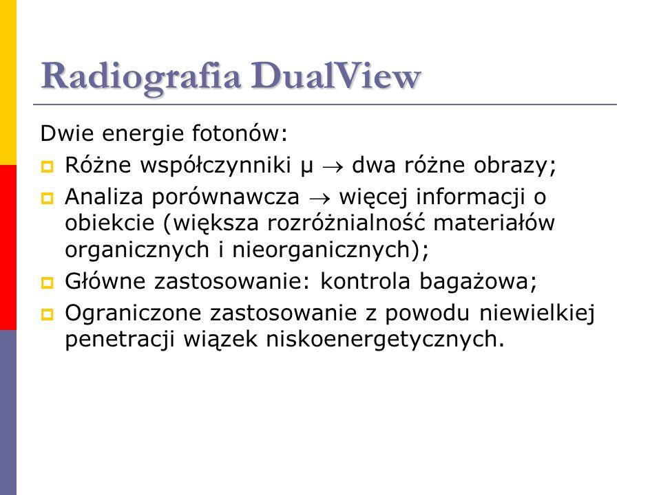 Radiografia DualView Dwie energie fotonów: Różne współczynniki μ dwa różne obrazy; Analiza porównawcza więcej informacji o obiekcie (większa rozróżnia