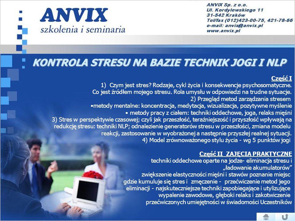 KONTROLA STRESU NA BAZIE TECHNIK JOGI I NLP Część I 1) Czym jest stres.