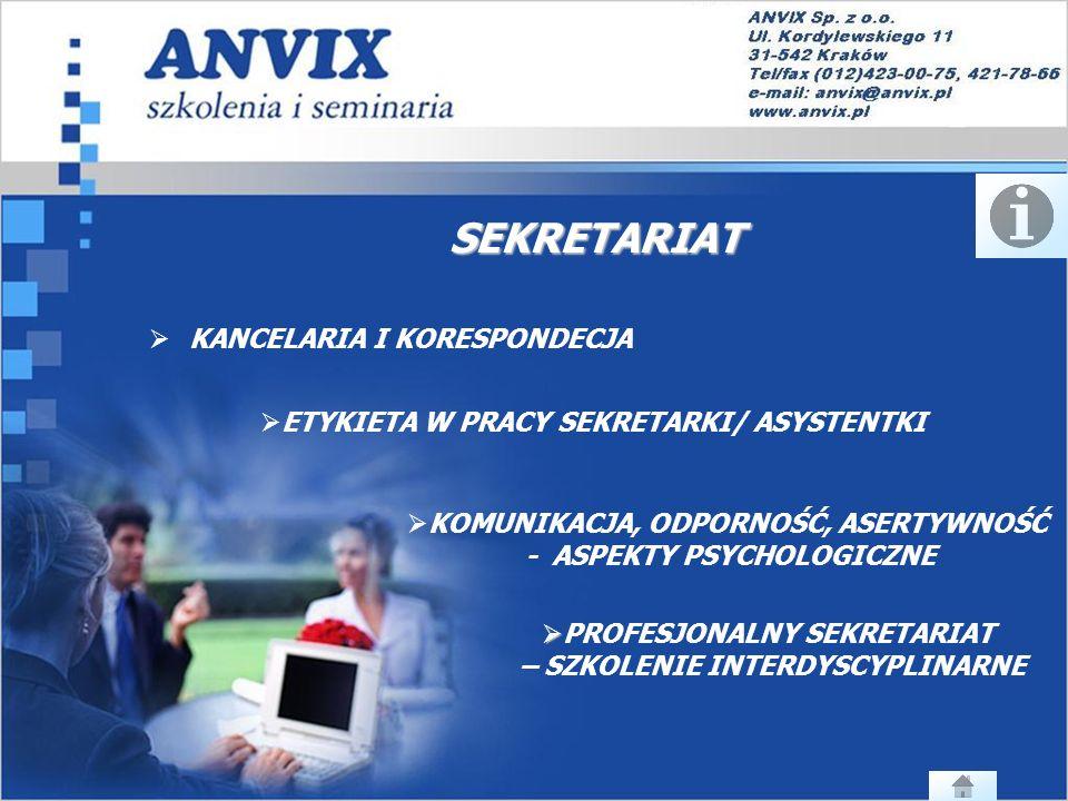 SEKRETARIAT KANCELARIA I KORESPONDECJA ETYKIETA W PRACY SEKRETARKI/ ASYSTENTKI ETYKIETA W PRACY SEKRETARKI/ ASYSTENTKI KOMUNIKACJA, ODPORNOŚĆ, ASERTYWNOŚĆ - ASPEKTY PSYCHOLOGICZNE PROFESJONALNY SEKRETARIAT PROFESJONALNY SEKRETARIAT – SZKOLENIE INTERDYSCYPLINARNE