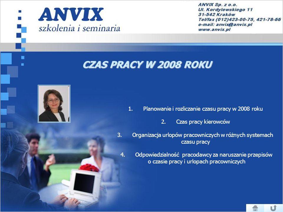 CZAS PRACY W 2008 ROKU 1.Planowanie i rozliczanie czasu pracy w 2008 roku 2.