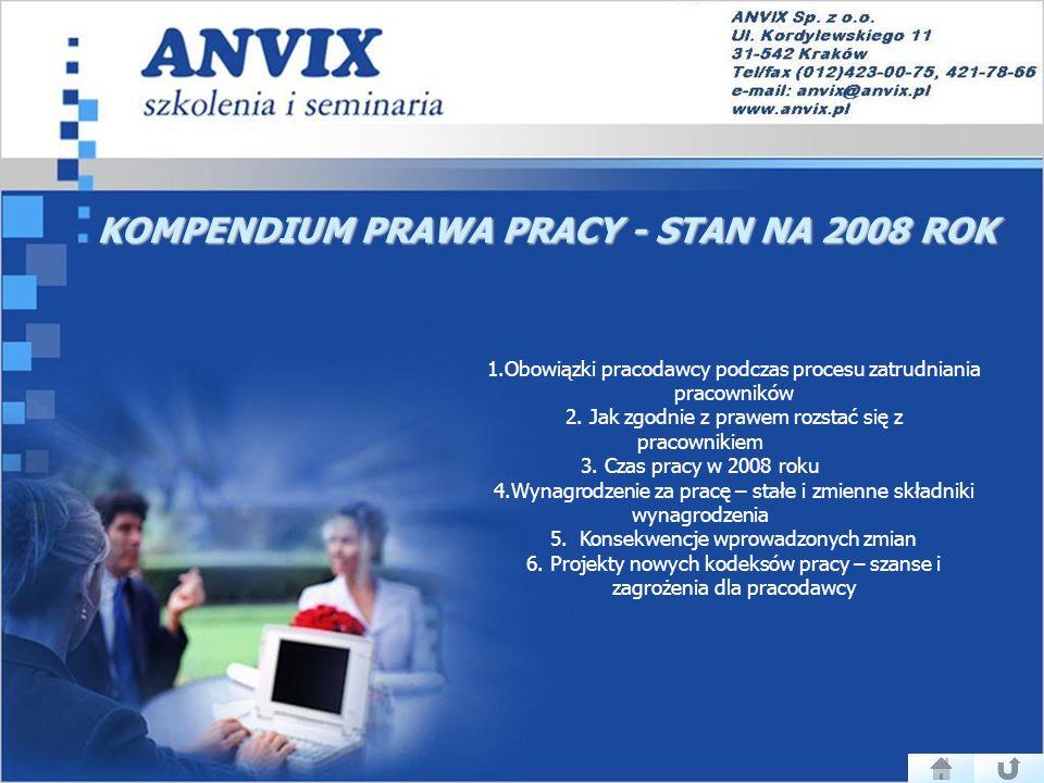 KOMPENDIUM PRAWA PRACY - STAN NA 2008 ROK 1.Obowiązki pracodawcy podczas procesu zatrudniania pracowników 2.