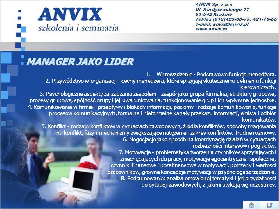 MANAGER JAKO LIDER 1.Wprowadzenie - Podstawowe funkcje menedżera.