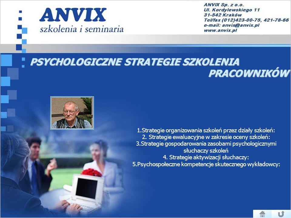 PSYCHOLOGICZNE STRATEGIE SZKOLENIA PRACOWNIKÓW PRACOWNIKÓW 1.Strategie organizowania szkoleń przez działy szkoleń: 2.