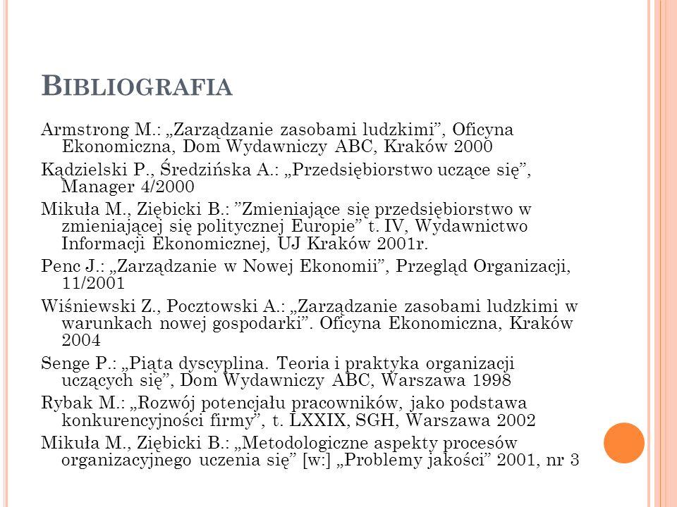 B IBLIOGRAFIA Armstrong M.: Zarządzanie zasobami ludzkimi, Oficyna Ekonomiczna, Dom Wydawniczy ABC, Kraków 2000 Kądzielski P., Średzińska A.: Przedsię