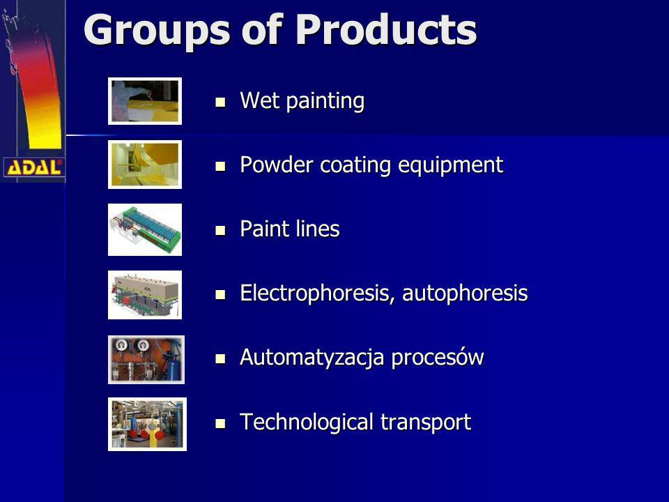 Groups of Products Wet painting Wet painting Powder coating equipment Powder coating equipment Paint lines Paint lines Electrophoresis, autophoresis E