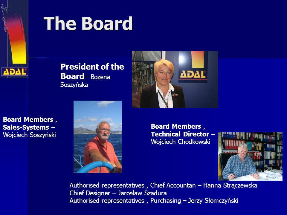 The Board The Board President of the Board – Bożena Soszyńska Authorised representatives, Chief Accountan – Hanna Strączewska Chief Designer – Jarosła