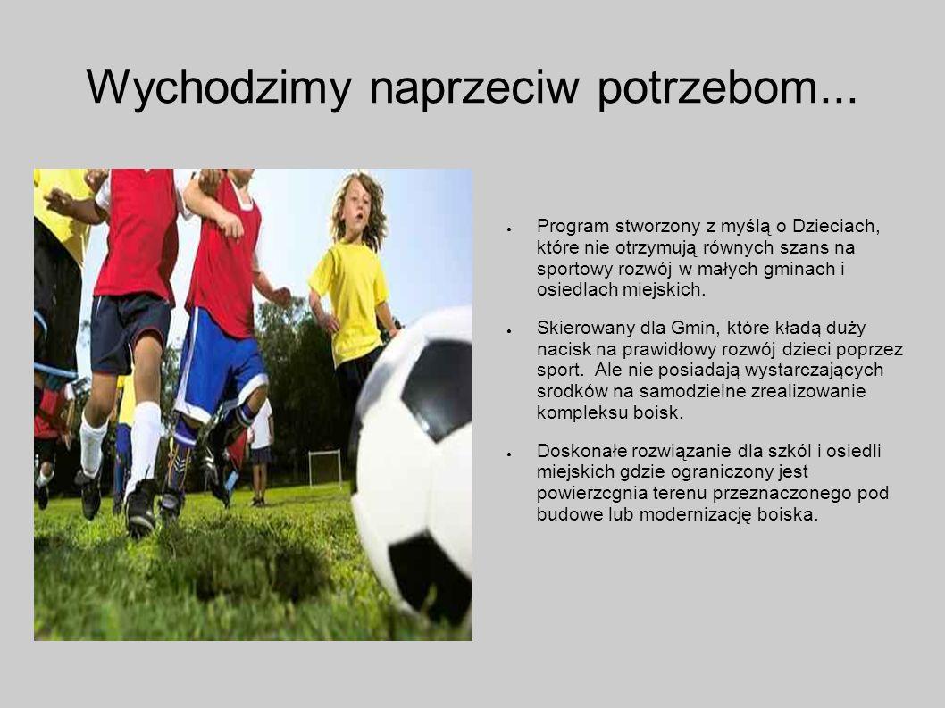 Sport rozwija Nasze obiekty zaprojektowane są tak by dać możliwość gry i rozwoju młodych sportowców w co najmnije trzech dyscyplinach : Piłce nożnej Koszykówce Piłce siatkowej