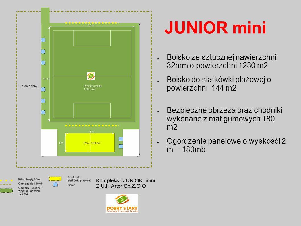JUNIOR mini Boisko ze sztucznej nawierzchni 32mm o powierzchni 1230 m2 Boisko do siatkówki plażowej o powierzchni 144 m2 Bezpieczne obrzeża oraz chodn
