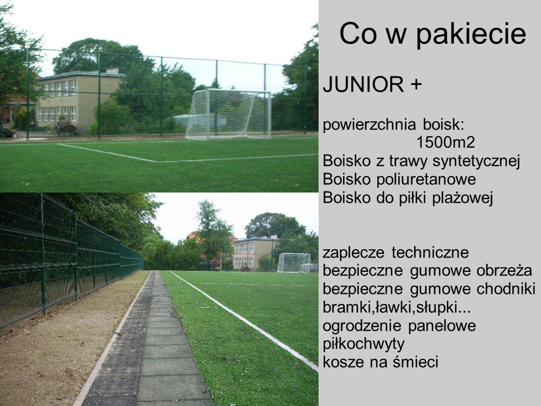 Co w pakiecie JUNIOR + powierzchnia boisk: 1500m2 Boisko z trawy syntetycznej Boisko poliuretanowe Boisko do piłki plażowej zaplecze techniczne bezpie