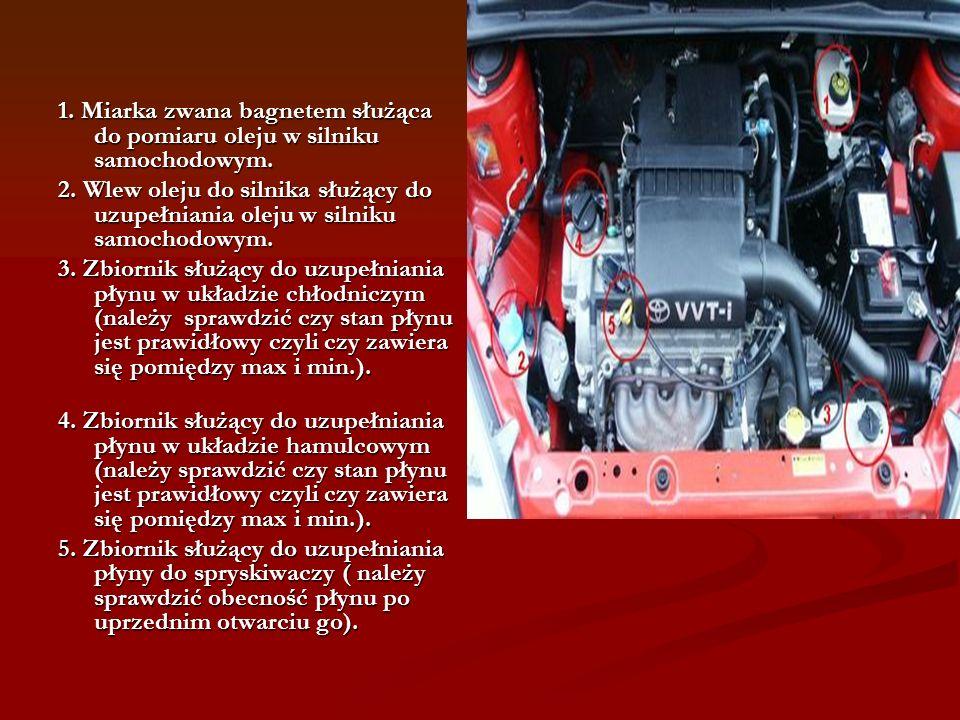 1.Miarka zwana bagnetem służąca do pomiaru oleju w silniku samochodowym.