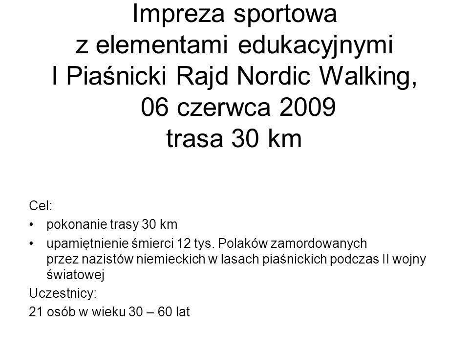 Impreza sportowa z elementami edukacyjnymi I Piaśnicki Rajd Nordic Walking, 06 czerwca 2009 trasa 30 km Cel: pokonanie trasy 30 km upamiętnienie śmier