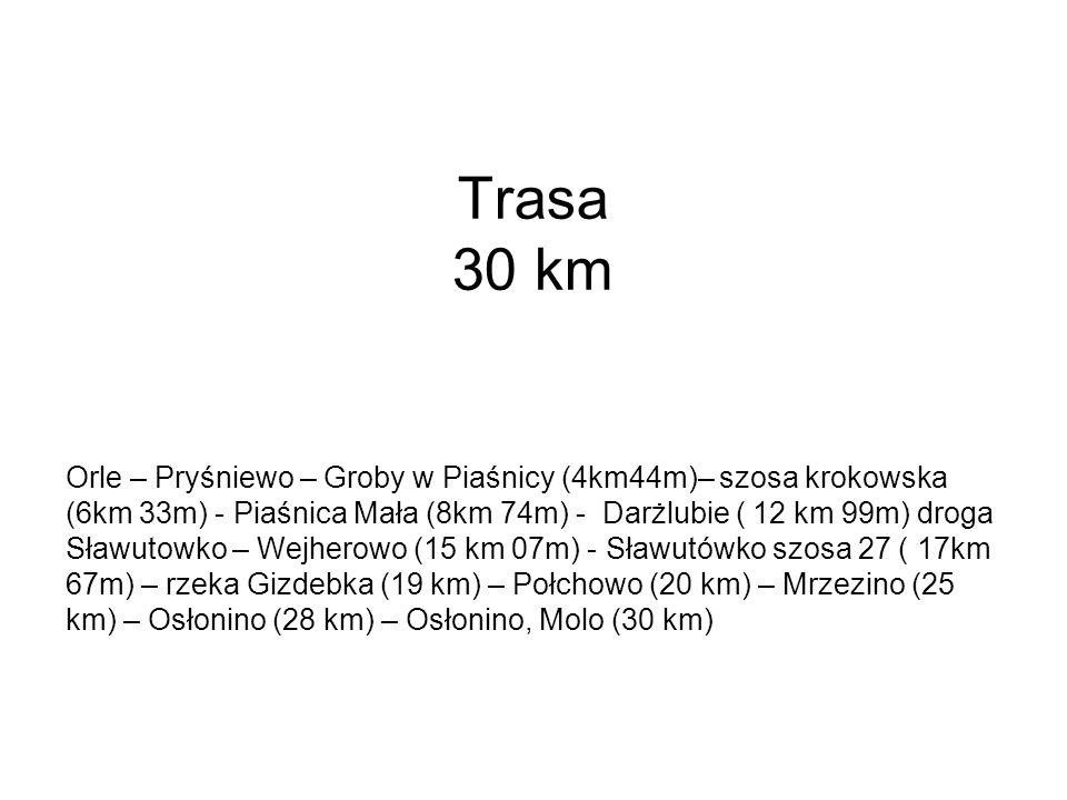 Scenariusz 9.00 – 9.30 – zbiórka uczestników, rozgrzewka, lista uczestników (kontakt telefoniczny i mailowy) 9.40 – powitanie przez Organizatora 9.45 – omówienie trasy, zasad poruszania się, komunikaty o oddalaniu się od grupy, zabezpieczenie transportu i ubezpieczenie uczestników, informacja o oznaczeniach trasy 9.50 – wymarsz do Piaśnicy 11.00 – I posiłek 11.10 – złożenie kwiatów przez panią Wójt Gminy Wejherowo na grobach 11.15 – 13.00 – przejście przez Puszczę Darżlubską 13.00 – 15 kilometr trasy – II posiłek 13.40 – Sławutówko 14.10 – III posiłek przy Krzyżu 14.25 – zdjęcie na Skarpie w Połchowie 14.40 – IV posiłek 15.10 – Zatoka Pucka 15.30 – Molo w Osłoninie - meta