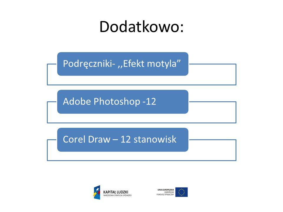 Dodatkowo: Podręczniki-,,Efekt motylaAdobe Photoshop -12Corel Draw – 12 stanowisk