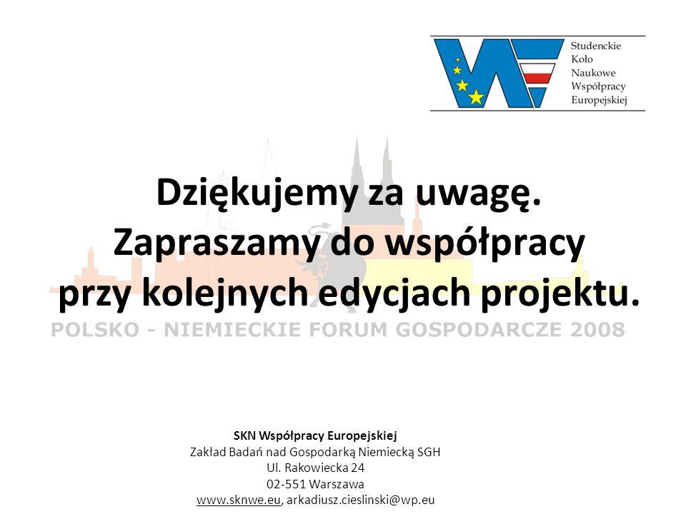 Dziękujemy za uwagę. Zapraszamy do współpracy przy kolejnych edycjach projektu. SKN Współpracy Europejskiej Zakład Badań nad Gospodarką Niemiecką SGH