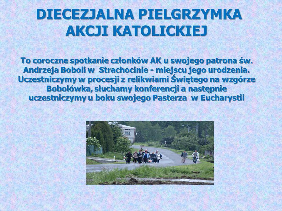 DIECEZJALNA PIELGRZYMKA AKCJI KATOLICKIEJ To coroczne spotkanie członków AK u swojego patrona św. Andrzeja Boboli w Strachocinie - miejscu jego urodze