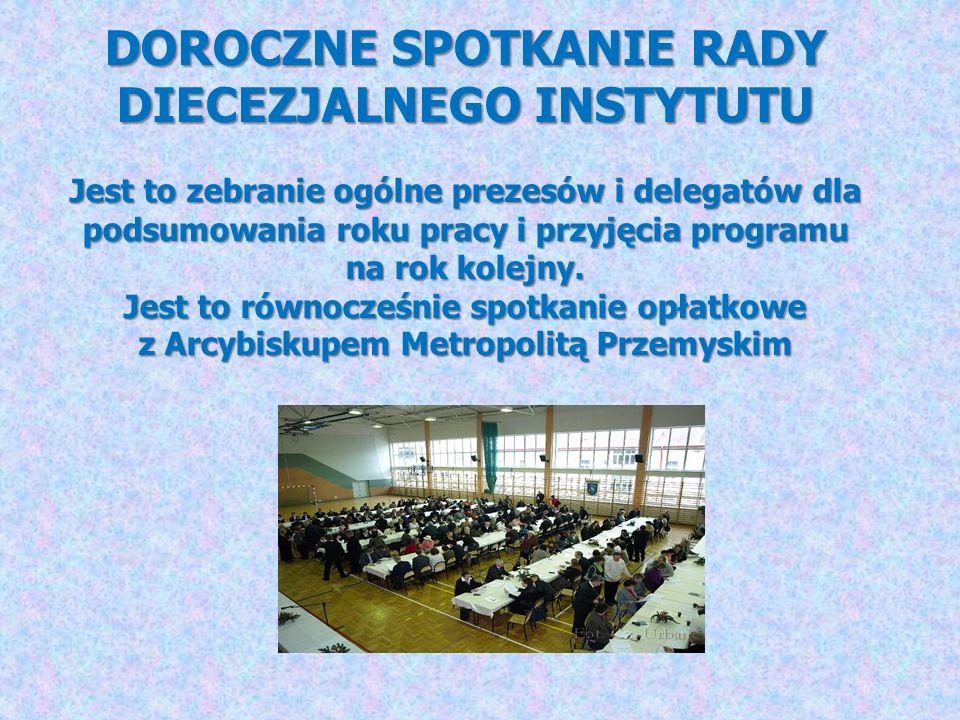 DOROCZNE SPOTKANIE RADY DIECEZJALNEGO INSTYTUTU Jest to zebranie ogólne prezesów i delegatów dla podsumowania roku pracy i przyjęcia programu na rok k