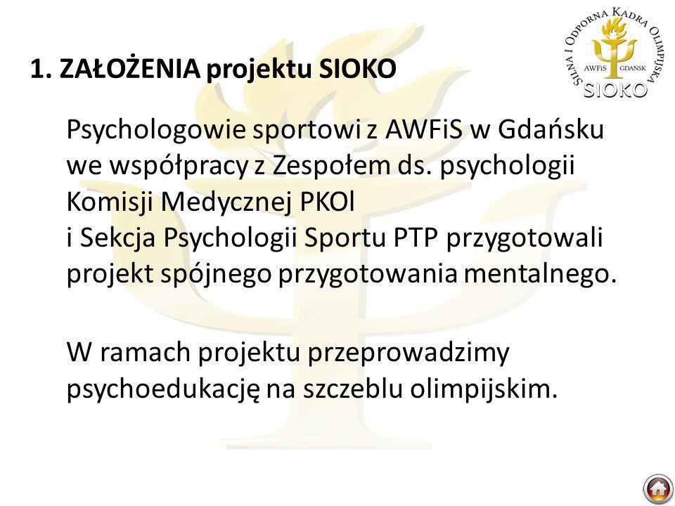 1. ZAŁOŻENIA projektu SIOKO Psychologowie sportowi z AWFiS w Gdańsku we współpracy z Zespołem ds. psychologii Komisji Medycznej PKOl i Sekcja Psycholo