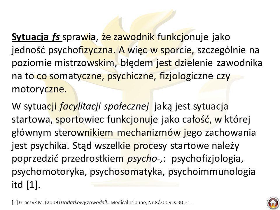 Sytuacja fs sprawia, że zawodnik funkcjonuje jako jedność psychofizyczna.