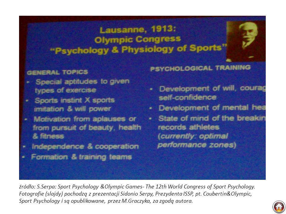 źródło: S.Serpa: Sport Psychology &Olympic Games- The 12th World Congress of Sport Psychology. Fotografie (slajdy) pochodzą z prezentacji Sidonio Serp