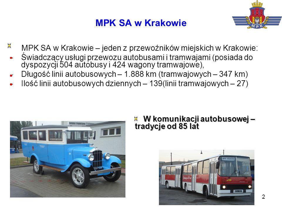 3 Tabor autobusowy w MPK Kraków Struktura taboru : Solaris –40,9% Jelcz – 36,7% Scania – 12,5% Mercedes – 7,8% MAN - 2,1% Średni wiek taboru (01.04) – 7,6 lat