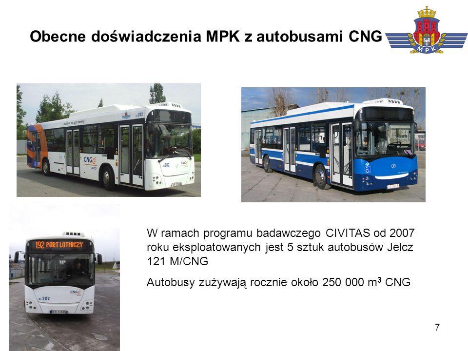 7 Obecne doświadczenia MPK z autobusami CNG W ramach programu badawczego CIVITAS od 2007 roku eksploatowanych jest 5 sztuk autobusów Jelcz 121 M/CNG A
