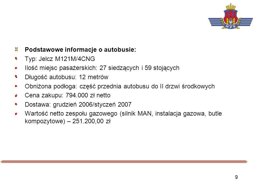 9 Podstawowe informacje o autobusie: Typ: Jelcz M121M/4CNG Ilość miejsc pasażerskich: 27 siedzących i 59 stojących Długość autobusu: 12 metrów Obniżon