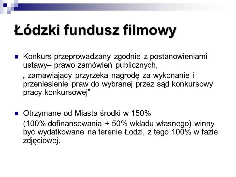 Łódzki fundusz filmowy Konkurs przeprowadzany zgodnie z postanowieniami ustawy– prawo zamówień publicznych, zamawiający przyrzeka nagrodę za wykonanie