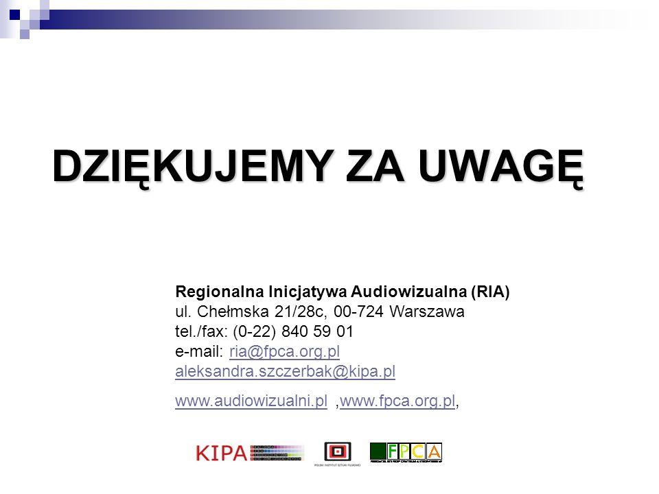 DZIĘKUJEMY ZA UWAGĘ Regionalna Inicjatywa Audiowizualna (RIA) ul. Chełmska 21/28c, 00-724 Warszawa tel./fax: (0-22) 840 59 01 e-mail: ria@fpca.org.pl