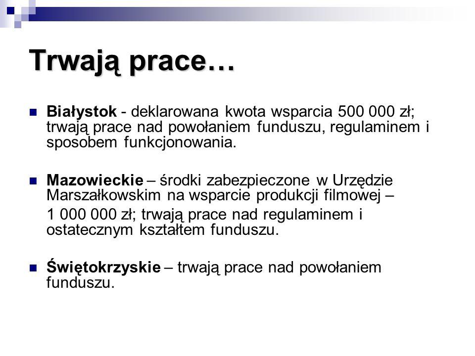 Trwają prace… Białystok - deklarowana kwota wsparcia 500 000 zł; trwają prace nad powołaniem funduszu, regulaminem i sposobem funkcjonowania. Mazowiec