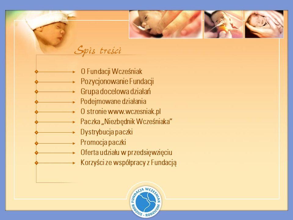 strona www.wczesniak.pl plakat informujący w szpitalach informacje prasowe w czasopismach dla młodych rodziców informacja w szkołach rodzenia