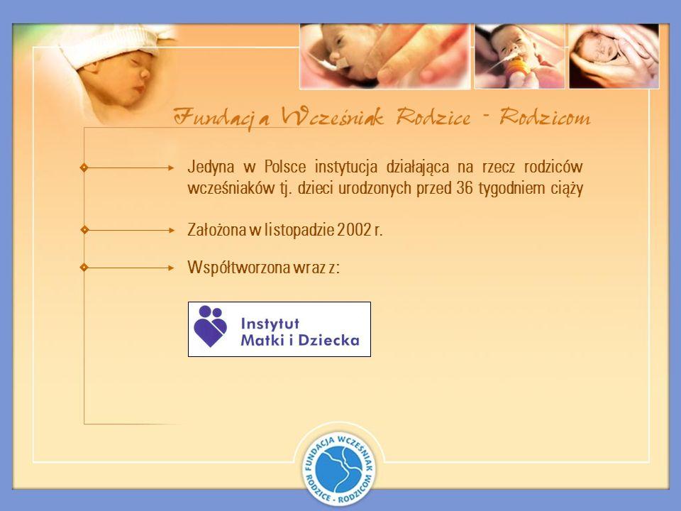 Jedyna w Polsce instytucja działająca na rzecz rodziców wcześniaków tj. dzieci urodzonych przed 36 tygodniem ciąży Założona w listopadzie 2002 r. Wspó
