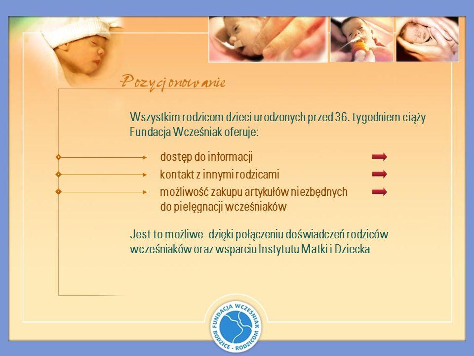 możliwość zakupu artykułów niezbędnych do pielęgnacji wcześniaków Wszystkim rodzicom dzieci urodzonych przed 36. tygodniem ciąży Fundacja Wcześniak of
