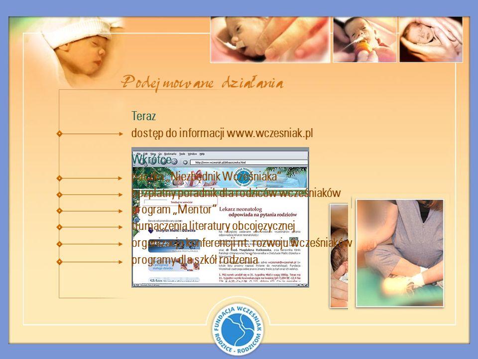 Teraz Wkrótce dostęp do informacji www.wczesniak.pl paczka Niezbędnik Wcześniaka bezpłatny poradnik dla rodziców wcześniaków program Mentor tłumaczeni