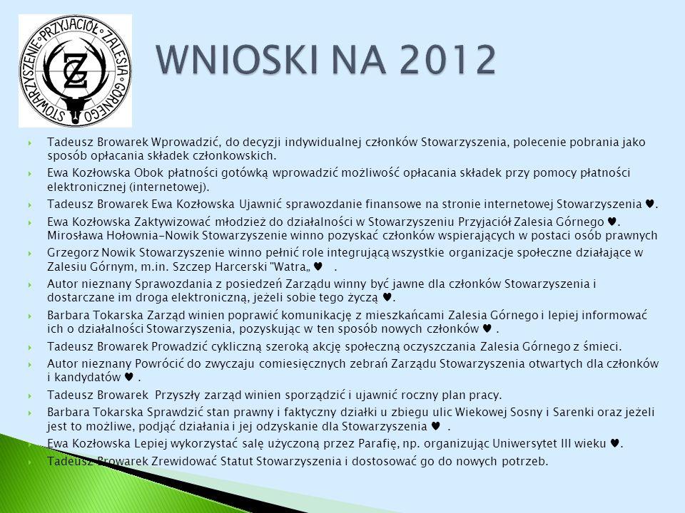 Tadeusz Browarek Wprowadzić, do decyzji indywidualnej członków Stowarzyszenia, polecenie pobrania jako sposób opłacania składek członkowskich. Ewa Koz