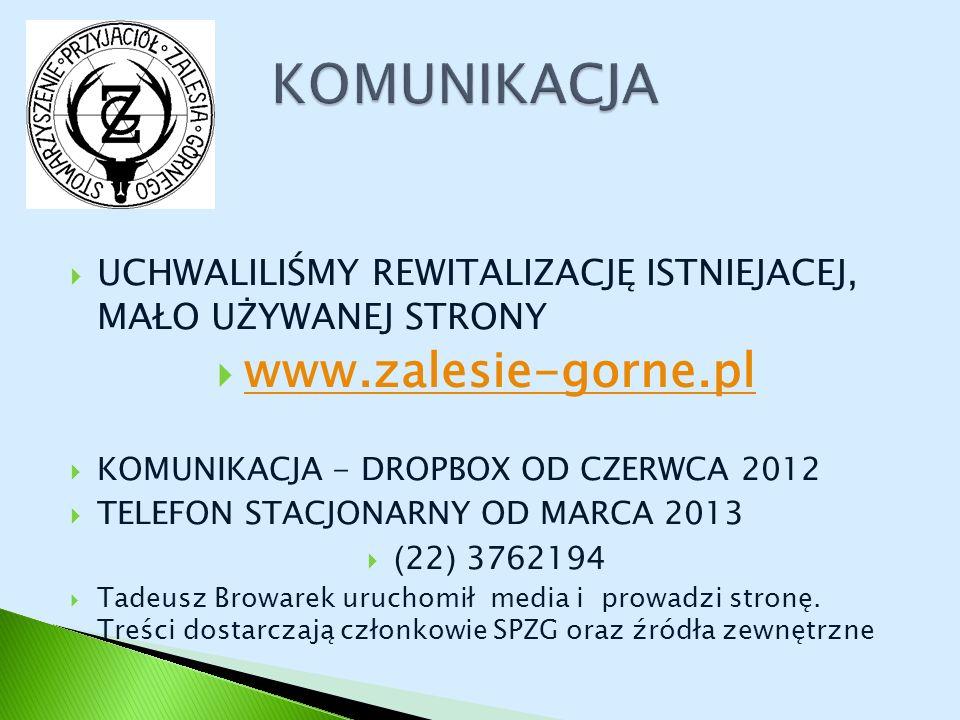 UCHWALILIŚMY REWITALIZACJĘ ISTNIEJACEJ, MAŁO UŻYWANEJ STRONY www.zalesie-gorne.pl KOMUNIKACJA - DROPBOX OD CZERWCA 2012 TELEFON STACJONARNY OD MARCA 2